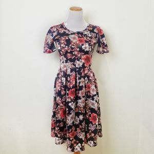 Lularoe Small Amelia Floral Navy Pink Dress